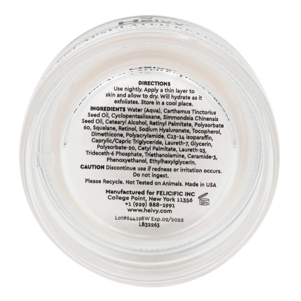 Underside of the Heivy Intensive Rich Eye Cream showing label with directions and ingredients