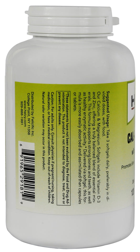 Heivy Cal Mag Zinc With D3 Softgels product information label