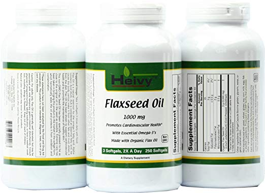 Heivy flaxseed oil softgels product bottle, supplement facts label, and information label