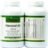 Heivy flaxseed oil softgels product bottle and supplement facts label