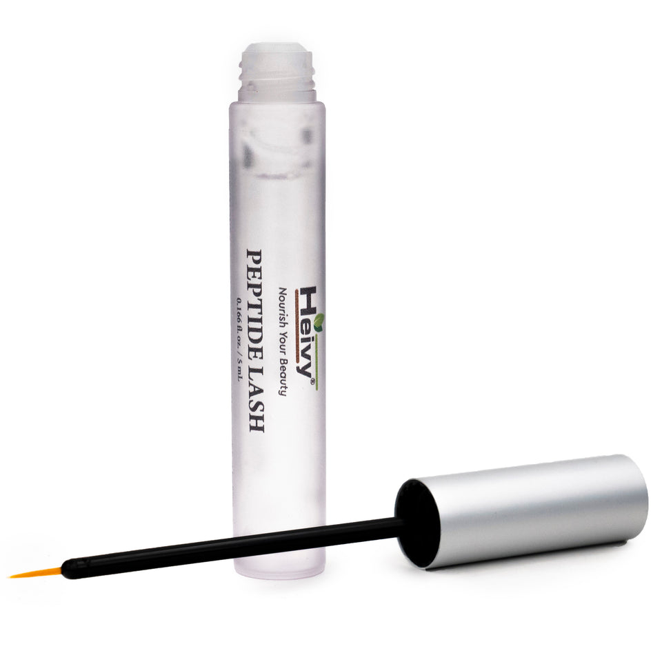 Heivy Peptide Lash Serum product tube with lid and applicator removed