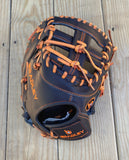 "GW-RTP-RS: Bradley 12"" I/Web, Fast Pitch First Base Mitt Black/Tangerine Fixed Lace-GloveWhisperer, Inc"