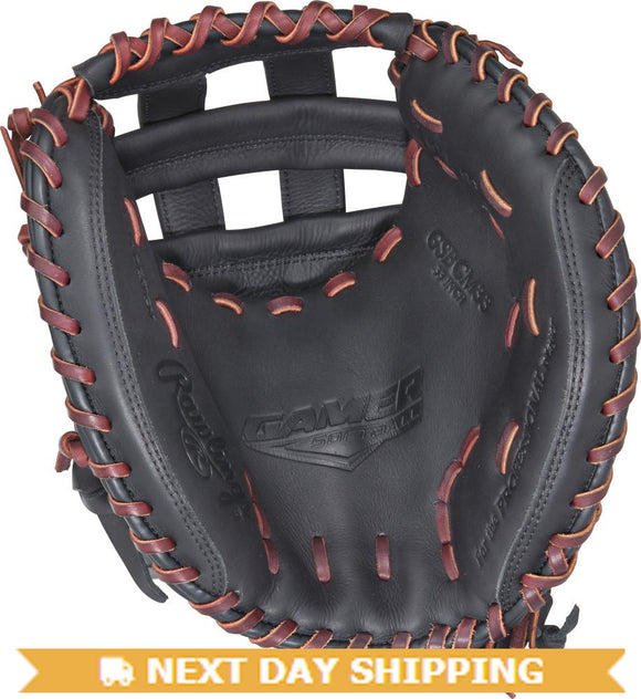 GW-RTP-RS: Rawlings Gamer FastPitch Softball GSBCM33 • 33˝ Softball catcher's mitt • Modified Pro H™-GloveWhisperer, Inc