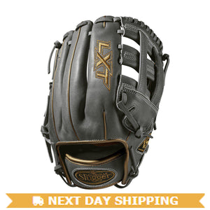 "GW-RTP_RS: Louisville Slugger 2019 LXT 11.75"" INFIELD FP: Grey with Gold Piping-GloveWhisperer, Inc"