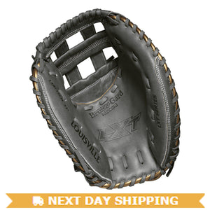 "GW-RTP-RS: Louisville Slugger LXT 33"" Catcher Mitt FP: Grey with Gold Piping-GloveWhisperer, Inc"