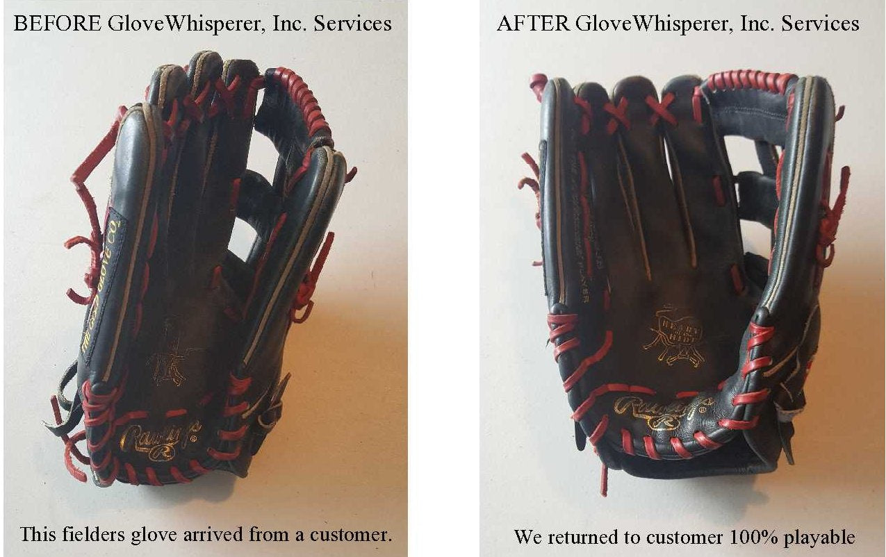 Used Fielders Glove Before and After