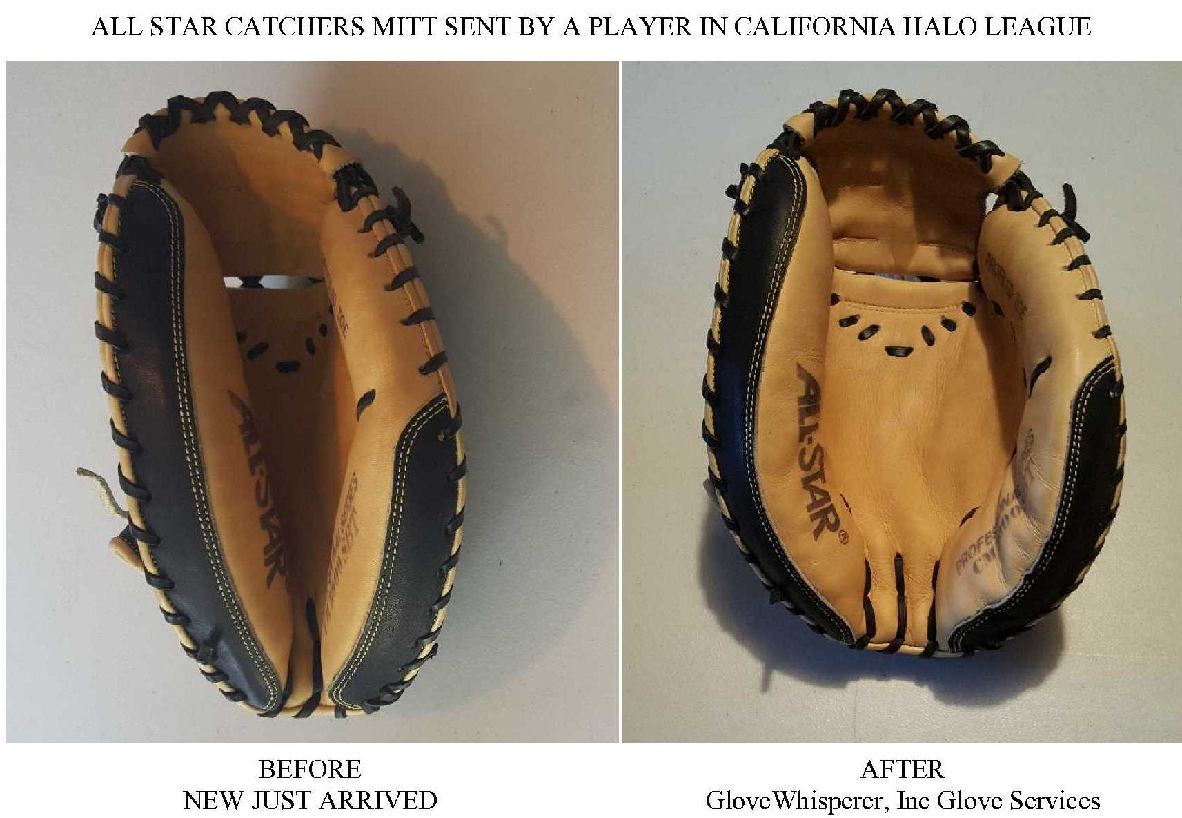 New Catchers Mitt Before and After