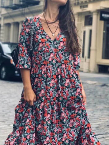 Women Red Dresses Floral Dresses