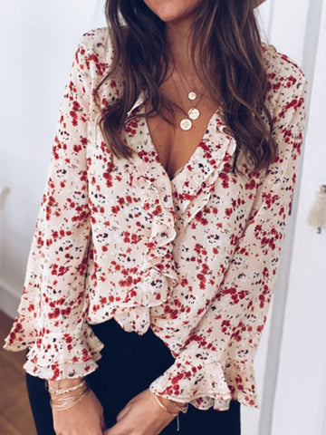 Women Floral Frill Sleeves Casual Blouses