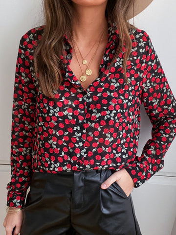 Women Floral Printed Buttoned Casual Shirts