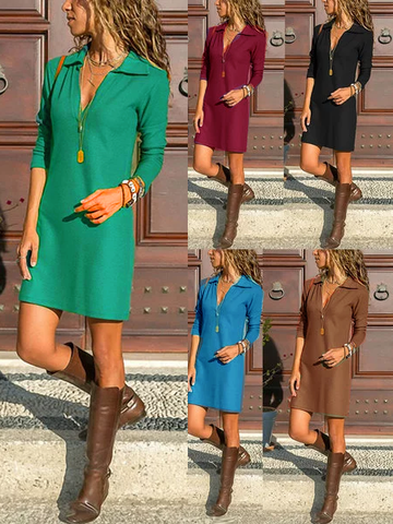 Long Sleeve V Neck Solid A-Line Dress