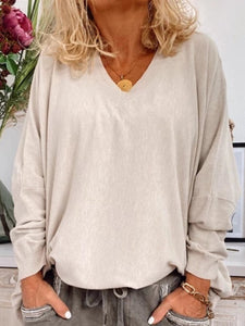 Casual Plus Size V Neck Long Sleeve Shirts Tops