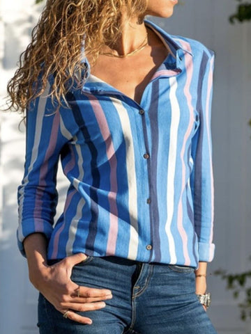 Long Sleeve Striped Shirt Collar Blouses