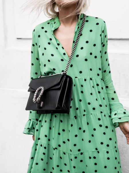 Green Polka Dots V-neck Long Sleeve Chiffon Plus Size Maxi Dress