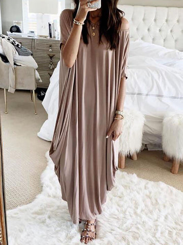 Crew Neck Soft Solid Maxi Dresses