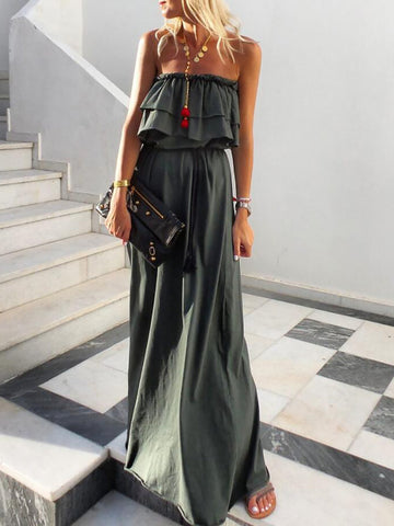 Ruffled Strapless Boho Maxi Dresses