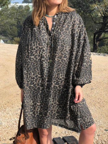 Women Dresses Casual Leopard Print Dresses