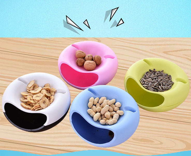 Creative Shape Snack Bowl Plastic Double Layers Snack Storage Box Bowl Fruit Plate Bowl With Phone Holder
