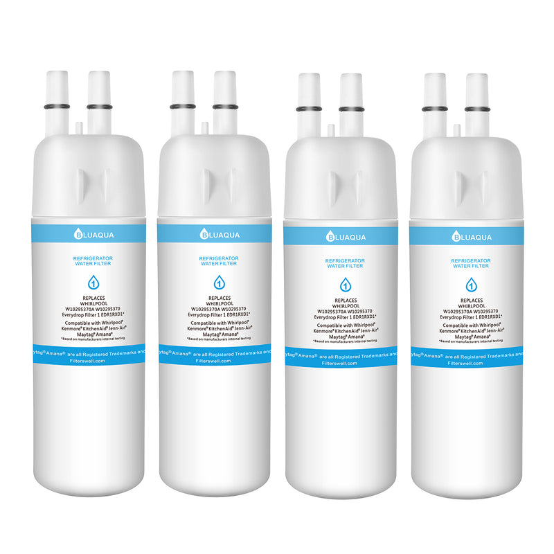 4Pack Bluaqua BL-Filter1  replace for  Filter 1 EDR1RXD1, W10295370A Compatible Refrigerator Water Filter