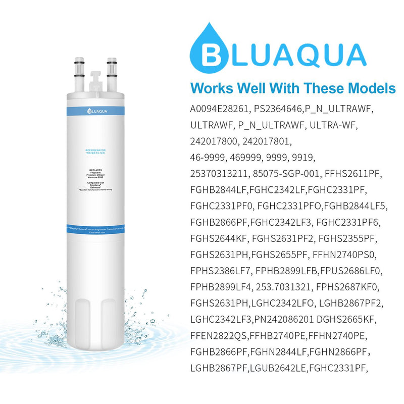 Bluaqua Replacement water filter for Frigidaire  Ultrawf Water Filter, Kenmore 9999 6-pack - funcoolbox2018