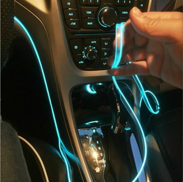 5m car interior atmosphere lamp colorful cold light line with USB charging DIY Decorative Dash board Console Door