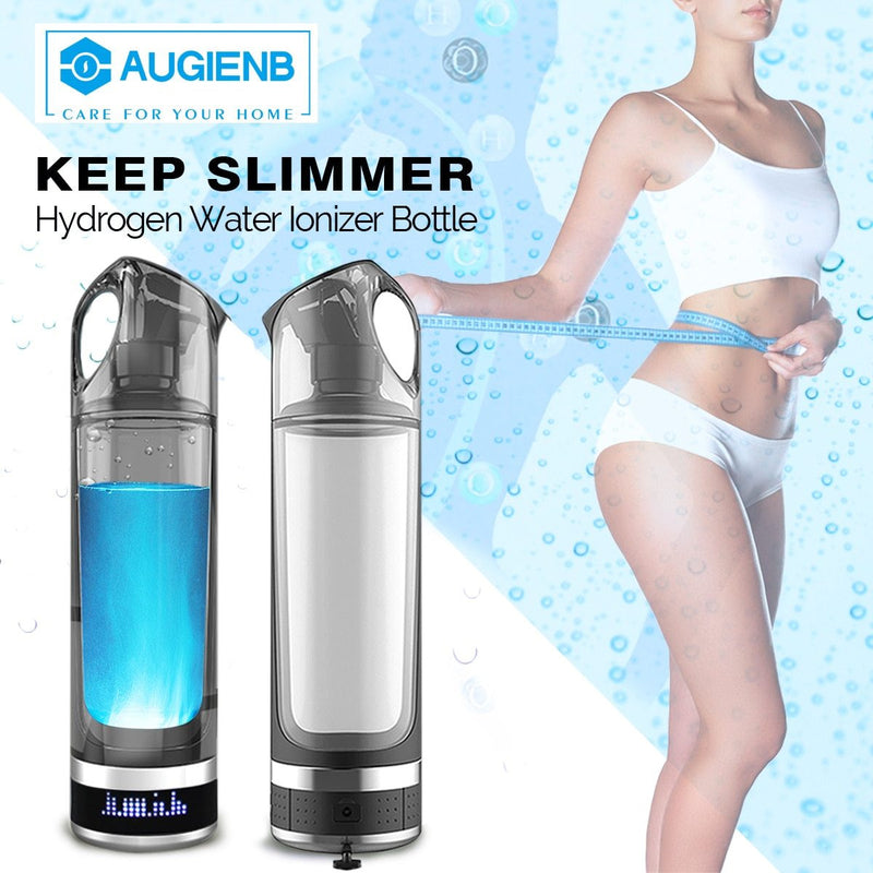 Augienb Healthy Anti-Aging Hydrogen Rich Water Bottle Generator 500ML LED Display USB Rechargeable Hydrogen Rich lonizer