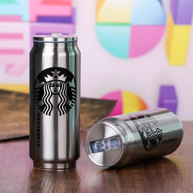 500ML Outdoor Travel Cup Bottle Mug Stainless Steel Creative Beverage Cans Thermos Water Stylish Personality Portable Straw Cup
