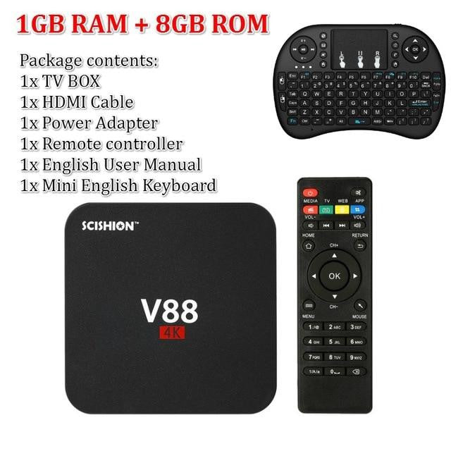 SCISHION V88 Android TV Box Latest KD 18.0 Android 7.1 OS 1GB RAM 8GB RK3229 Quad Core 1080P WiFi HDMI Smart TV BOX Media Player