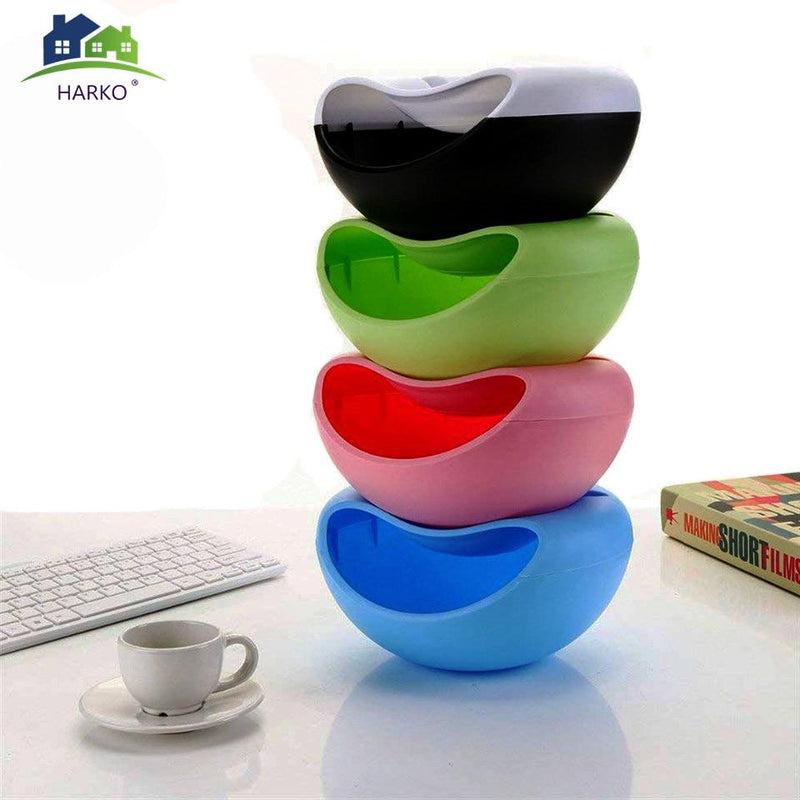 Creative Shape Lazy Snack Bowl Plastic Double Layers Snack Storage Box Bowl Fruit Plate Bowl With Phone Holder