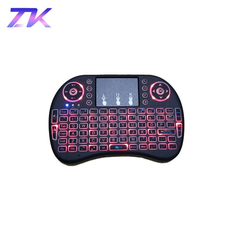 ZKMAGIC I8 2.4GHz Mini Wireless Backlit Keyboard Touchpad Mouse LED Backlit AAA*2 Battery for Smart TV Mini PC