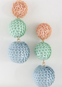 Just Minty Sequined Triple Ball Earrings