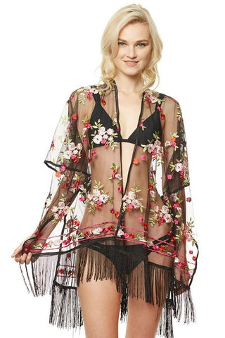 PINK FLORAL SHEER KIMONO WITH FRINGE