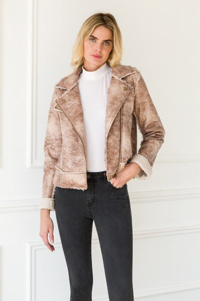 TEXTURED MOTO FAUX SHERLING LINED JACKET