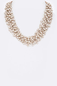 Multi Strand White Bead Statement Necklace