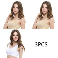 3pcs/set Side Buckle Lace Sports Bra
