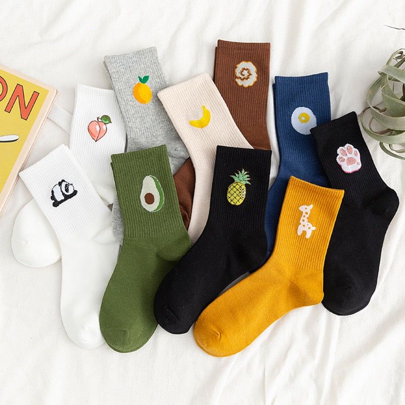 Fruit Embroidered Cute Socks