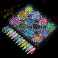 12 Pcs Powder Glitters Nail Art
