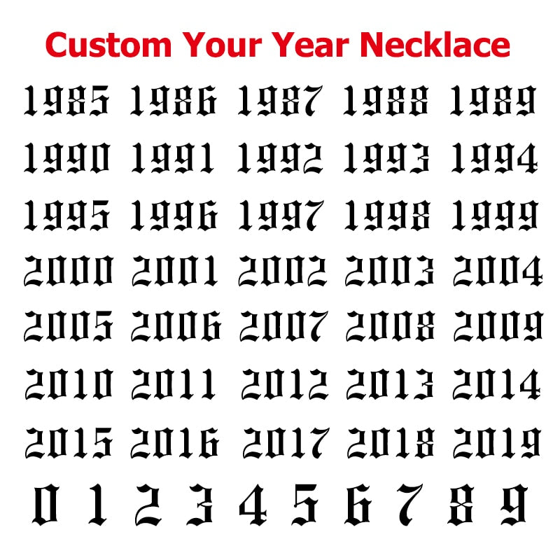 Custom Year Number Necklace