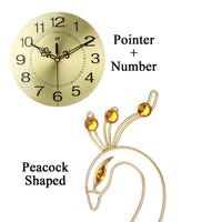 3D Gold Peacock Wall Clock