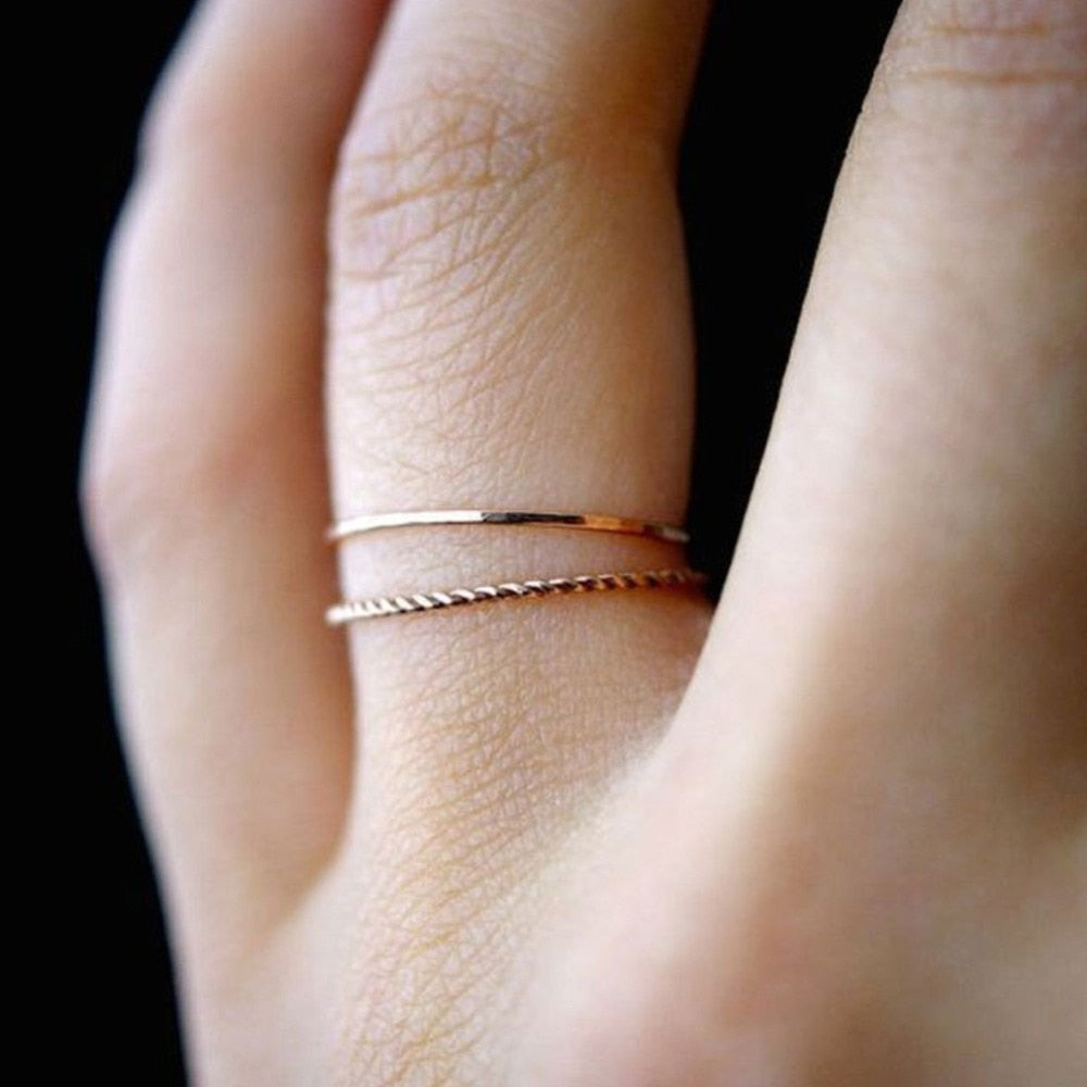 Thin Slim Rose Gold Stacking Ring