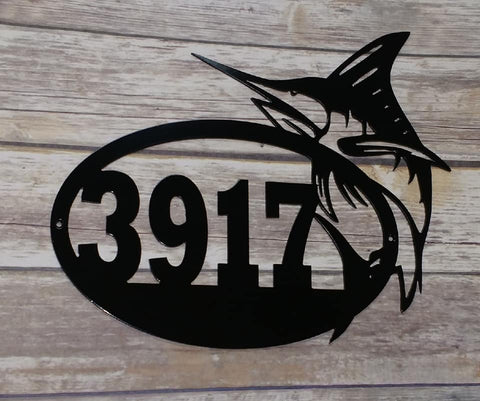 Marlin Oval Address Sign