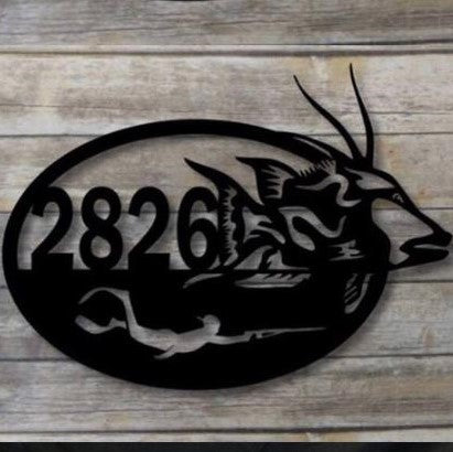 Hog Fish/Diver Oval Address Sign
