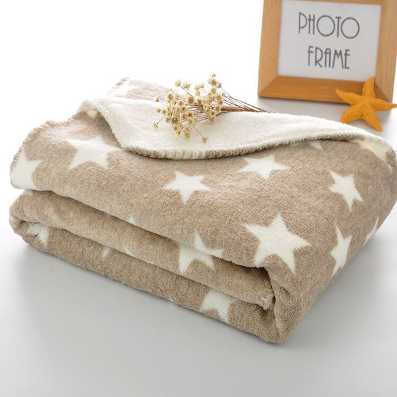 Winter Coral Fleece Blanket Star Pattern Baby Blanket Fleece Baby