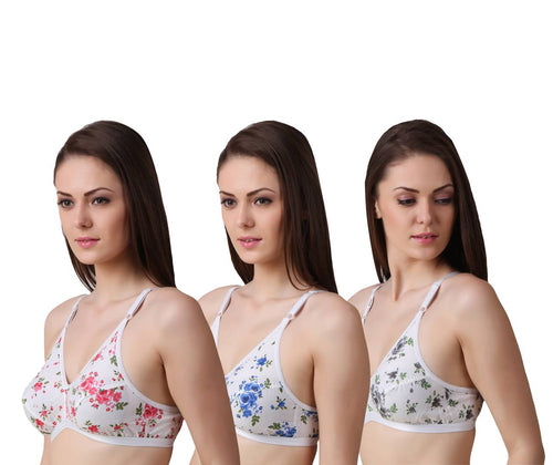 Women's Regular Cotton Wear Assorted Colour Print  Bra Pack Of 3