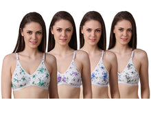 Load image into Gallery viewer, Women's Regular Cotton Wear Assorted Colour Print  Bra Pack Of 4