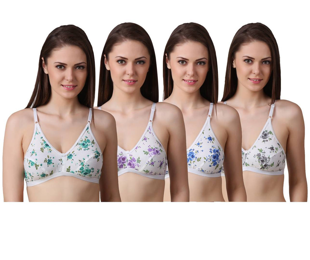 Women's Regular Cotton Wear Assorted Colour Print  Bra Pack Of 4