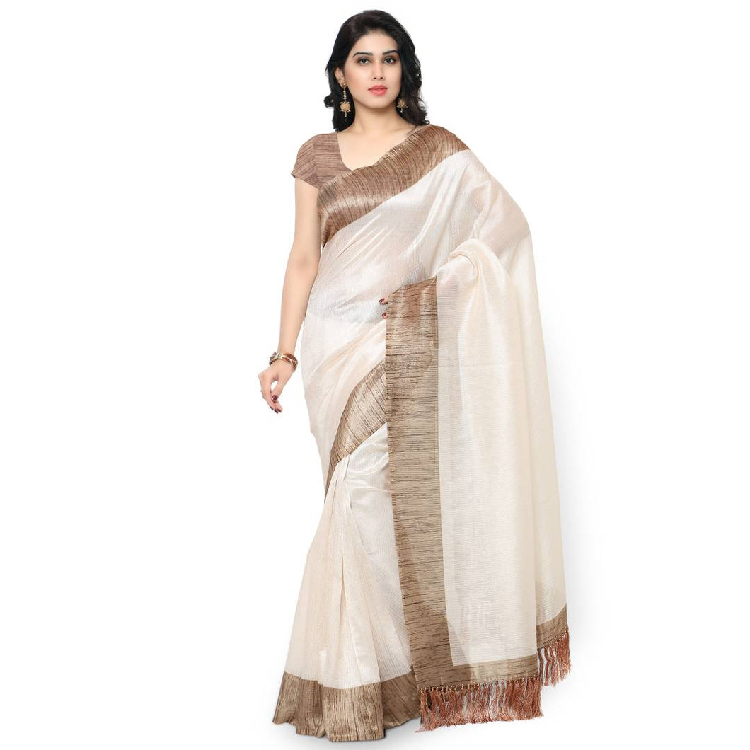 Rajnandini Off White Tussar Silk Plain Traditional Saree