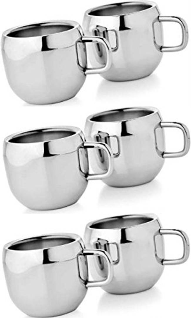 Stainless Steel Cup Set, Set of 6, Silver
