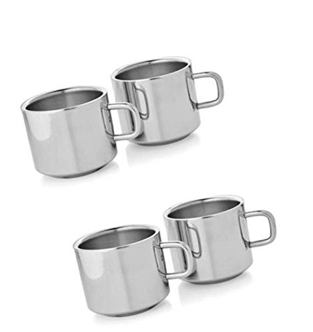 Stainless Steel Cup Set, Set of 4, Silver