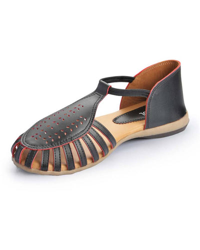 Black Solid Synthetic Leather Sandals